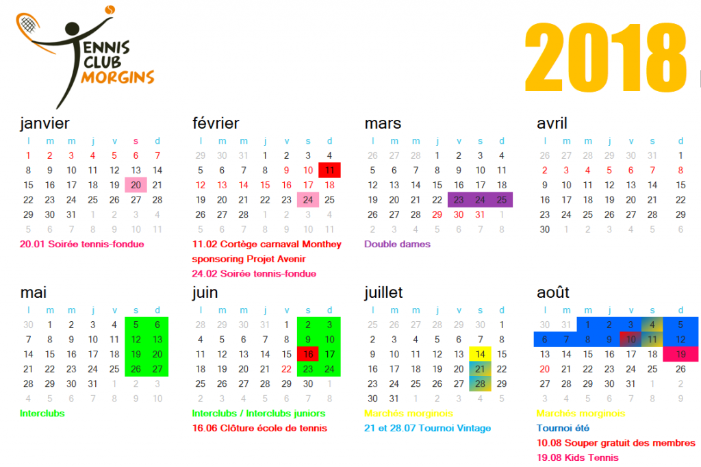 Calendrier manifestations 2018