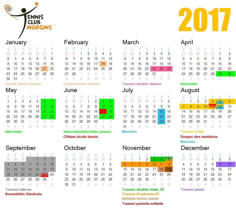calendrier TCM 2017